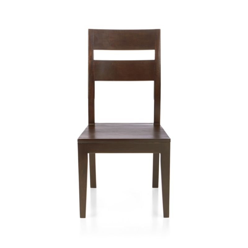 "Bold country character, with simple, angular lines and a modified slat back. Optional cushion sold separately.<br /><br /><NEWTAG/><ul><li>Handcrafted</li><li>Sustainable, kiln-dried solid mango wood</li><li>Peg detailing</li><li>Naturally occurring grain and knots</li><li>Java finish</li><li>17¾""H seat</li><li>Made in Indonesia</li></ul>"