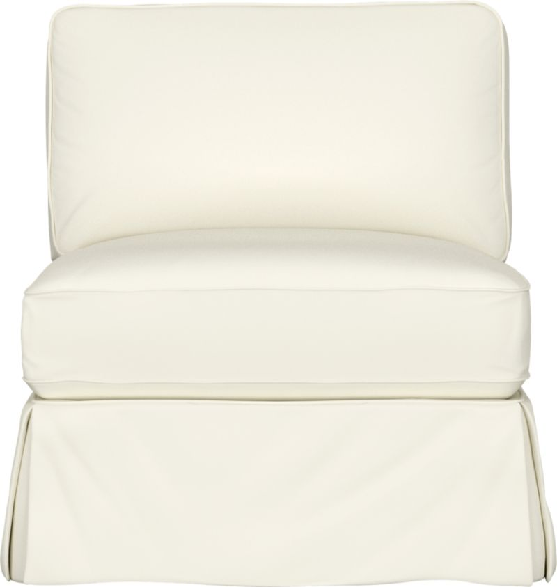 "Machine-washable skirted slipcover tailored for Bayside Armless Chair takes on everyday living.<br /><br />Additional <a href=""http://crateandbarrel.custhelp.com/cgi-bin/crateandbarrel.cfg/php/enduser/crate_answer.php?popup=-1&p_faqid=125&p_sid=DMUxFvPi"">slipcovers</a> available below and through stores featuring our Furniture Collection.<br /><br />After you place your order, we will send a fabric swatch via next day air for your final approval. We will contact you to verify both your receipt and approval of the fabric swatch before finalizing your order.<br /><br /><NEWTAG/><ul><li>89% cotton, 11% polyester</li><li>Machine was"