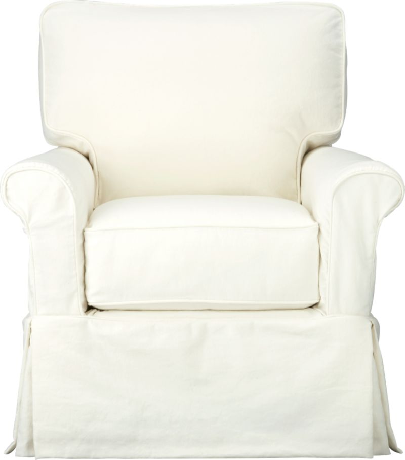 "Machine-washable skirted slipcover tailored for Bayside Swivel Glider takes on everyday living.<br /><br />Additional <a href=""http://crateandbarrel.custhelp.com/cgi-bin/crateandbarrel.cfg/php/enduser/crate_answer.php?popup=-1&p_faqid=125&p_sid=DMUxFvPi"">slipcovers</a> available below and through stores featuring our Furniture Collection.<br /><br />After you place your order, we will send a fabric swatch via next day air for your final approval. We will contact you to verify both your receipt and approval of the fabric swatch before finalizing your order.<br /><br /><NEWTAG/><ul><li>89% cotton, 11% polyester</li><li>Machine washable</li>&"