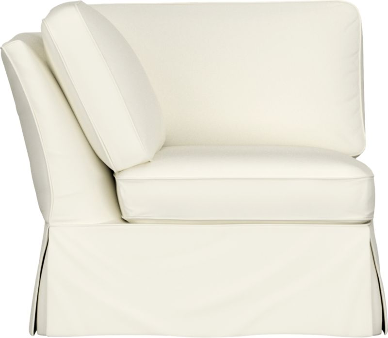"Casually dressed with cottage style, Bayside really knows how to take life easy. Its deep-cushioned, relaxed attitude fits any room, while its machine-washable skirted slipcover takes on everyday living. Petite rolled arm, deep seat and high back cushion sit big and comfortable.<br /><br />Additional <a href=""http://crateandbarrel.custhelp.com/cgi-bin/crateandbarrel.cfg/php/enduser/crate_answer.php?popup=-1&p_faqid=125&p_sid=DMUxFvPi"">slipcovers</a> available below and through stores featuring our Furniture Collection.<br /><br />After you place your order, we will send a fabric swatch via next day air for your final approval. We will contact you to verify both your receipt and approval of the fabric swatch before finalizing your order.<br /><br /><NEWTAG/><ul><li>Eco-friendly construction</li><li>Certified sustainable, kiln-dried hardwood frame</li><li>Seat cushion is soy-based polyfoam, wrapped in regenerated synthetic fiber and encased in downproof ticking</li><li>Back cushion is filled with 100% recycled and post-consumer fibers encased in downproof ticking</li><li>Sinuous wire springing</li><li>89% cotton, 11% polyester slipcover</li><li>Removable slipcovers are machine washable</li><li>Benchmade</li><li>See additional frame options below</li><li>Made in North Carolina, USA</li></ul>"