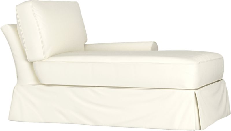 "Machine-washable skirted slipcover tailored for Bayside Right Arm Chaise takes on everyday living.<br /><br />Additional <a href=""http://crateandbarrel.custhelp.com/cgi-bin/crateandbarrel.cfg/php/enduser/crate_answer.php?popup=-1&p_faqid=125&p_sid=DMUxFvPi"">slipcovers</a> available below and through stores featuring our Furniture Collection.<br /><br />After you place your order, we will send a fabric swatch via next day air for your final approval. We will contact you to verify both your receipt and approval of the fabric swatch before finalizing your order.<br /><br /><NEWTAG/><ul><li>89% cotton, 11% polyester</li><li>Machine washable</li><li>Made in North Carolina, USA</li></ul><br />"