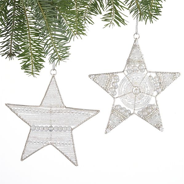 Set of 2 Beaded Star Ornaments