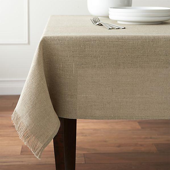 "Beckett Natural 60""x120"" Linen Tablecloth"