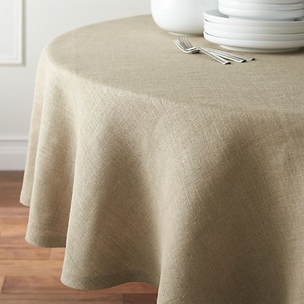 "Beckett Natural 90"" Round Tablecloth"