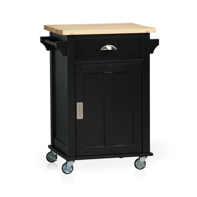 Instantly expand your kitchen's work surface and storage area with a contemporary cottage-inspired cart. Beautifully grained plank top is crafted from sustainable solid rubberwood with an oil finish. Solid wood veneered base with a black lacquer finish rests on four industrial-grade casters, making it easy to move or store. Also includes the option of four sturdy tapered feet (see additional photographs). Roomy single drawer, recessed panel cabinet with one adjustable shelf, and two towel bars provide generous storage. Brushed nickel hardware.<br /><br /><NEWTAG/><ul><li>Sustainable solid rubberwood top with foodsafe oil finish</li><li>Base is low-emission engineered wood with rubberwood veneer and lacquer finish</li><li>Brushed nickel hardware</li><li>Casters and optional wood feet</li><li>Made in Thailand</li></ul>
