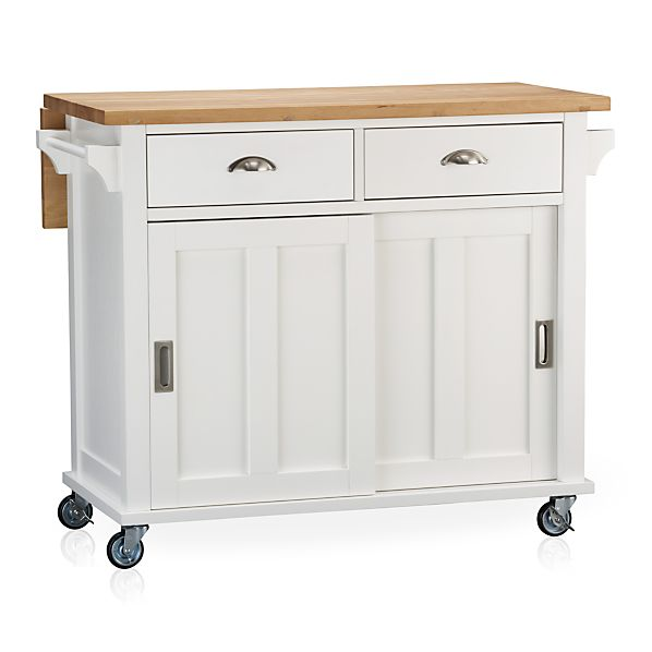 White Kitchen Cart With Drop Leaf