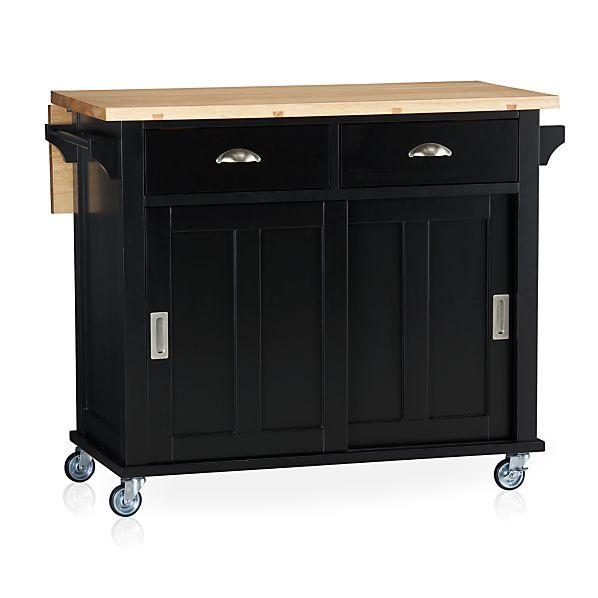 Crate And Barrel Butcher Block Kitchen Island : Belmont Black Kitchen Island in Kitchen Islands & Carts Crate and Barrel