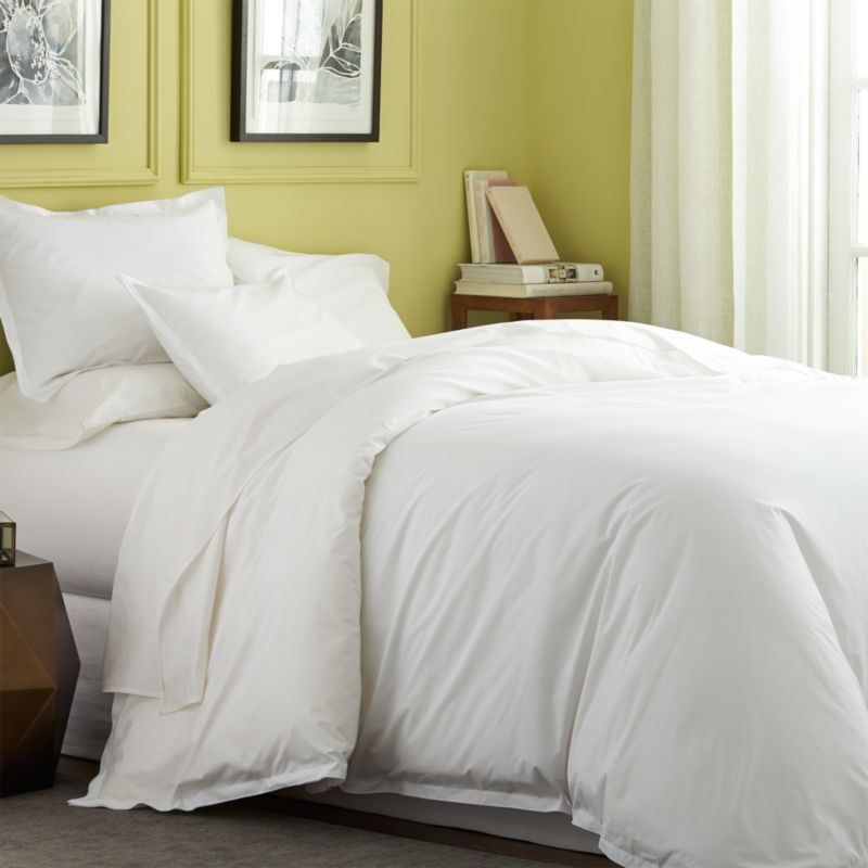 Belo white full queen duvet cover crate and barrel for Crate barrel comforter