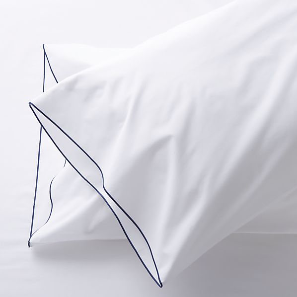 Set of 2 Belo Blue Standard Pillow Cases