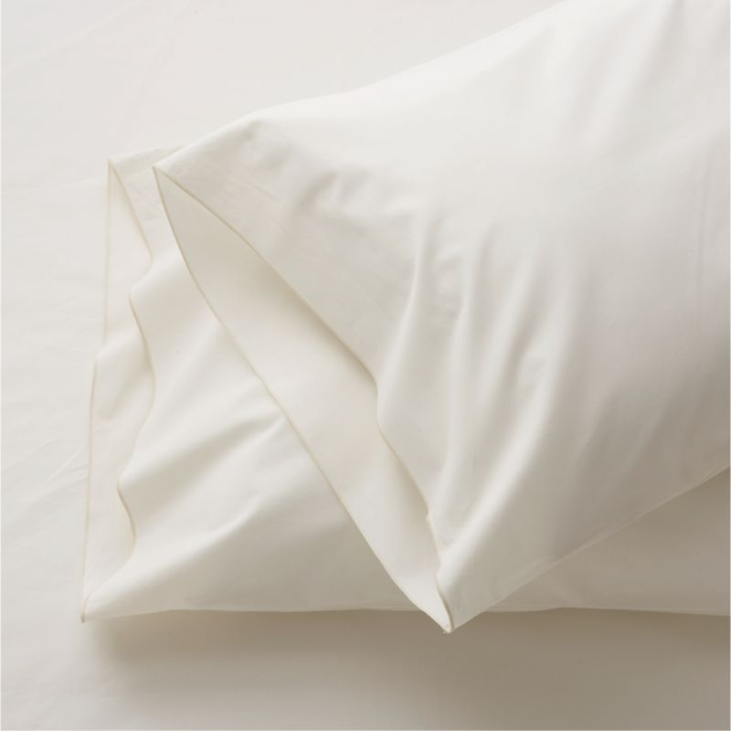 Clean, basic white bedding upgrade in soft, smooth cotton percale, beautifully contrasted with a graceful ivory overlocking stitch. Bed pillows also available.<br /><br /><strong>Limited-time offer ends February 20, 2013.</strong><br /><br /><NEWTAG/><ul><li>100% cotton percale</li><li>200-thread-count</li><li>Machine wash; tumble dry low</li><li>Made in Portugal</li></ul>