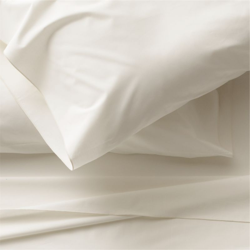 Clean, basic white bedding upgrades in soft, smooth cotton percale, beautifully contrasted with a graceful ivory overlocking stitch on the flat sheet and pillow case. Generous fitted sheet pockets accommodate thicker mattresses. Sheet set includes one flat sheet, one fitted sheet and two standard pillow cases. Bed pillows also available.<br /><br /><NEWTAG/><ul><li>100% cotton percale</li><li>200-thread-count</li><li>Machine wash; tumble dry low</li><li>Made in Portugal</li></ul>
