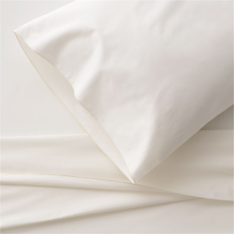 Clean, basic white bedding upgrades in soft, smooth cotton percale, beautifully contrasted with a graceful ivory overlocking stitch on the flat sheet and pillowcase. Generous fitted sheet pockets accommodate thicker mattresses. Sheet set includes one flat sheet, one fitted sheet and one standard pillowcase. Bed pillows also available.<br /><br /><NEWTAG/><ul><li>100% cotton percale</li><li>200-thread-count</li><li>Machine wash; tumble dry low</li><li>Made in Portugal</li></ul>