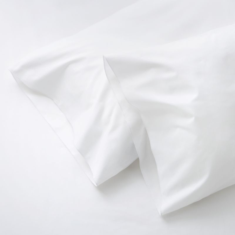 Clean, basic white bedding upgrade in soft, smooth cotton percale, beautifully accented with a graceful overlocking embroidery stitch. Bed pillows also available.<br /><br /><NEWTAG/><ul><li>100% cotton percale</li><li>200-thread-count</li><li>Machine wash; tumble dry low</li><li>Made in Portugal</li></ul>