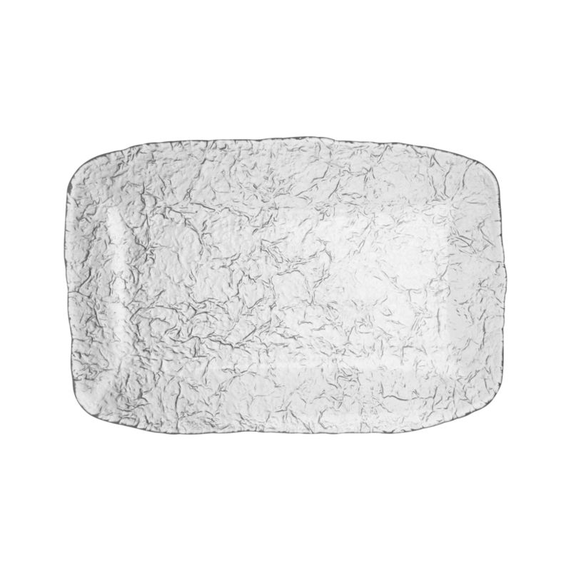 Organic shape and texture reminiscent of ice sculpture makes this Italian-crafted platter a cool serving alternative.<br /><br /><NEWTAG/><ul><li>Glass</li><li>Dishwasher-safe</li><li>Made in Italy</li></ul>