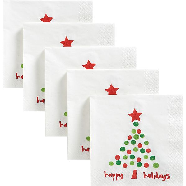 Set of 50 Holiday Dot Beverage Napkins