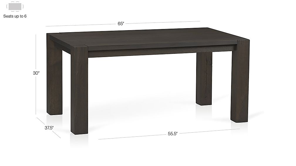"Big Sur Charcoal 65"" Dining Table Dimensions"