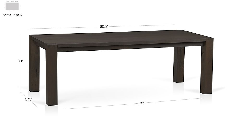 "Big Sur Charcoal 90.5"" Dining Table Dimensions"
