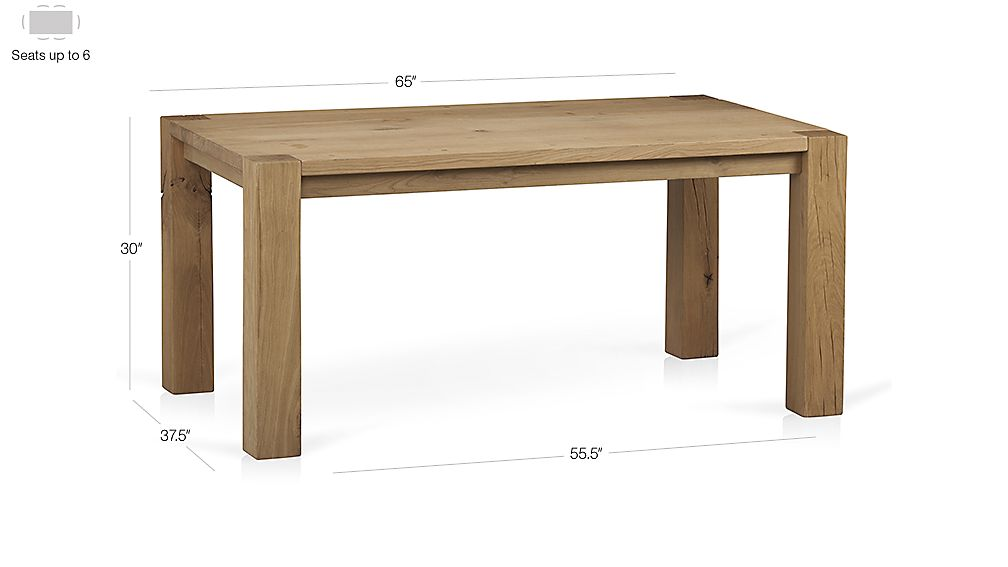 "Big Sur Natural 65"" Dining Table Dimensions"