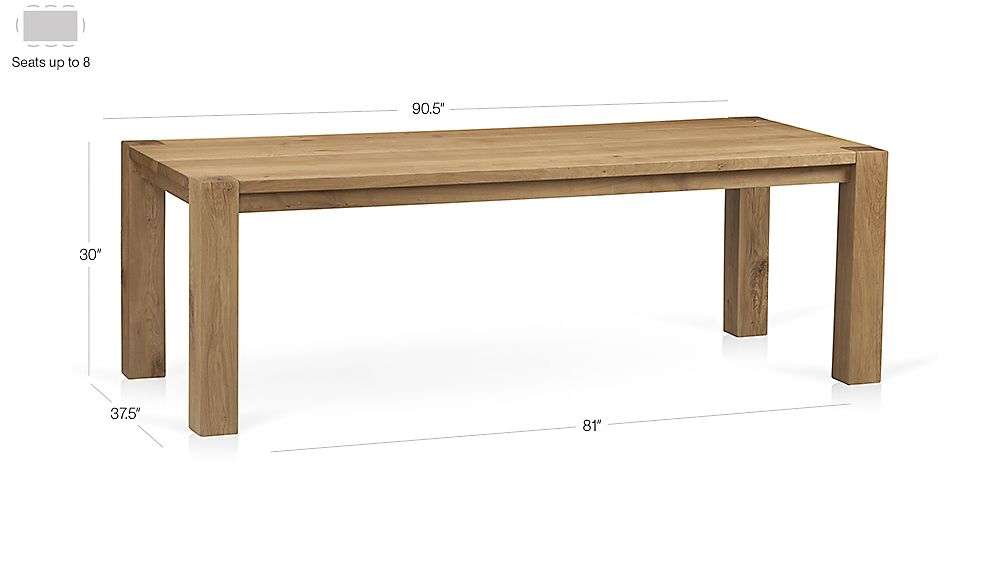 "Big Sur Natural 90.5"" Dining Table Dimensions"