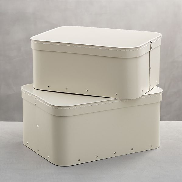 Bigso® Ivory Rectangular Storage Boxes Set of Two