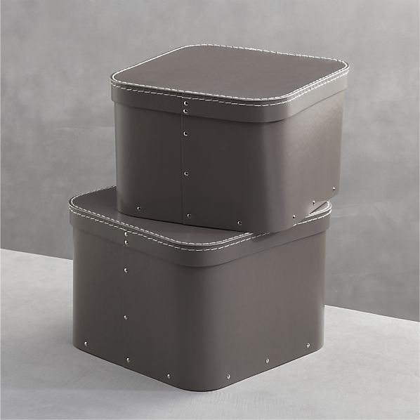 Set of 2 Bigso ® Grey Square Storage Boxes