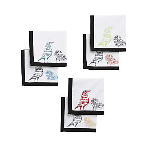 Set of 6 Bird Cocktail Napkins
