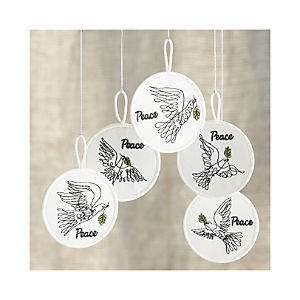 Bird of Peace Patch Ornaments Set of Five