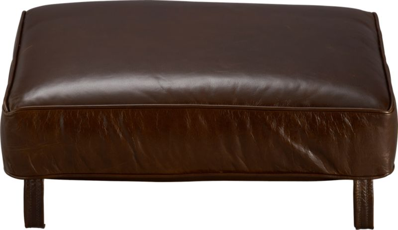 Blake Ottoman cushion is top-grain, full-aniline leather plumped with polyfiber fill wrapped in ticking. Also available in fabric.<br /><br /><NEWTAG/><ul><li>Top-grain, full-aniline leather</li><li>Polyfiber cushion wrapped in ticking</li><li>Made in North Carolina, USA</li></ul>