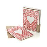 Set of 6 Block-Printed Heart Cards