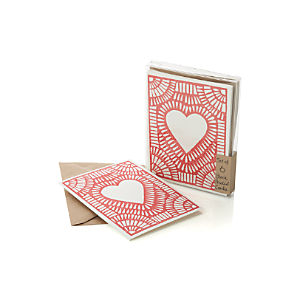 Block-Printed Heart Cards Set of Six