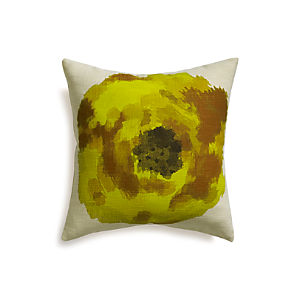 "Blossom Yellow 18"" Pillow with Feather-Down Insert"