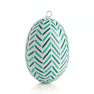 Hand Painted Blue Chevron Easter Egg