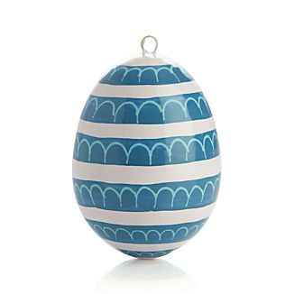 Hand Painted Blue Loops Easter Egg