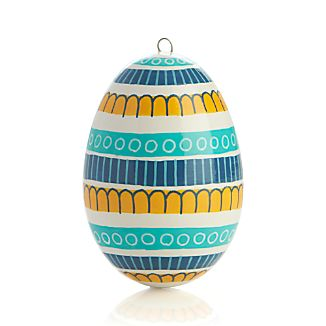 Hand Painted Blue Multi Stripe Easter Egg