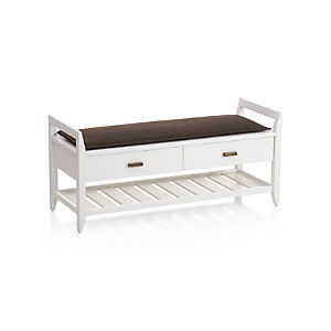 Boardwalk White Bench with Cushion