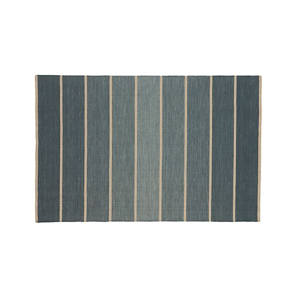 Bold Blue Striped Wool-Blend 5'x8' Rug