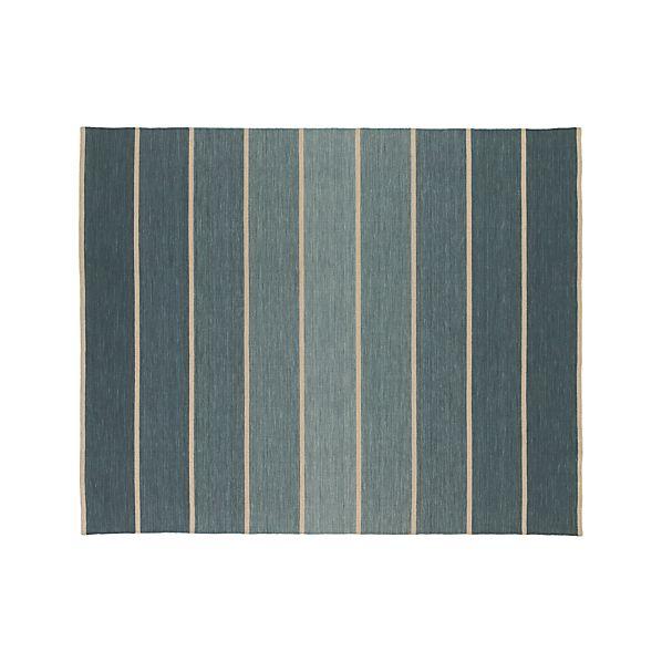 Bold Blue Striped Wool-Blend 8'x10' Rug