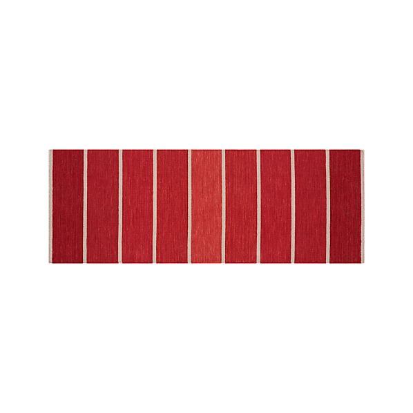 Bold Red Striped Wool-Blend 2.5'x7' Rug Runner