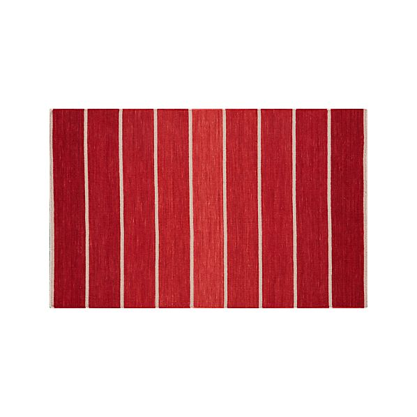 Bold Red Striped Wool-Blend 3'x5' Rug