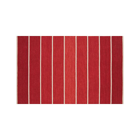 Bold Red Striped Wool-Blend 5'x8' Rug