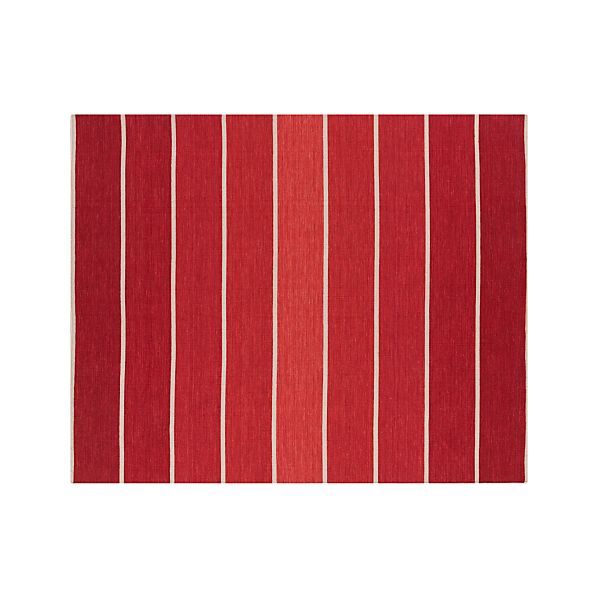 Bold Red Striped Wool-Blend 8'x10' Rug