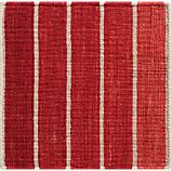 "Bold Red Striped Wool-Blend 12"" sq. Rug Swatch"