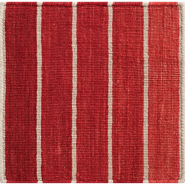"Bold Red Stripe 12"" sq. Rug Swatch"