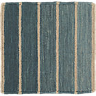 Bold Blue Striped Wool-Blend Rug Swatch.