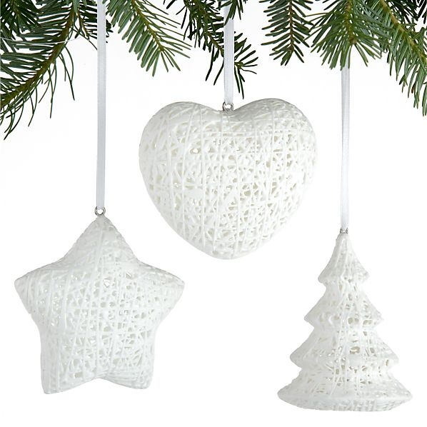 Set of 3 China Fiber Ornaments