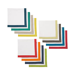Set of 12 Multicolor Border Napkins