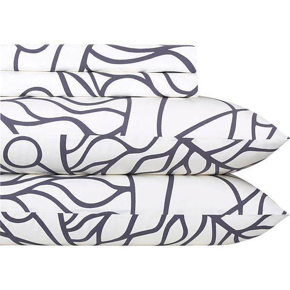 Marimekko Bottna Slate Queen Sheet Set
