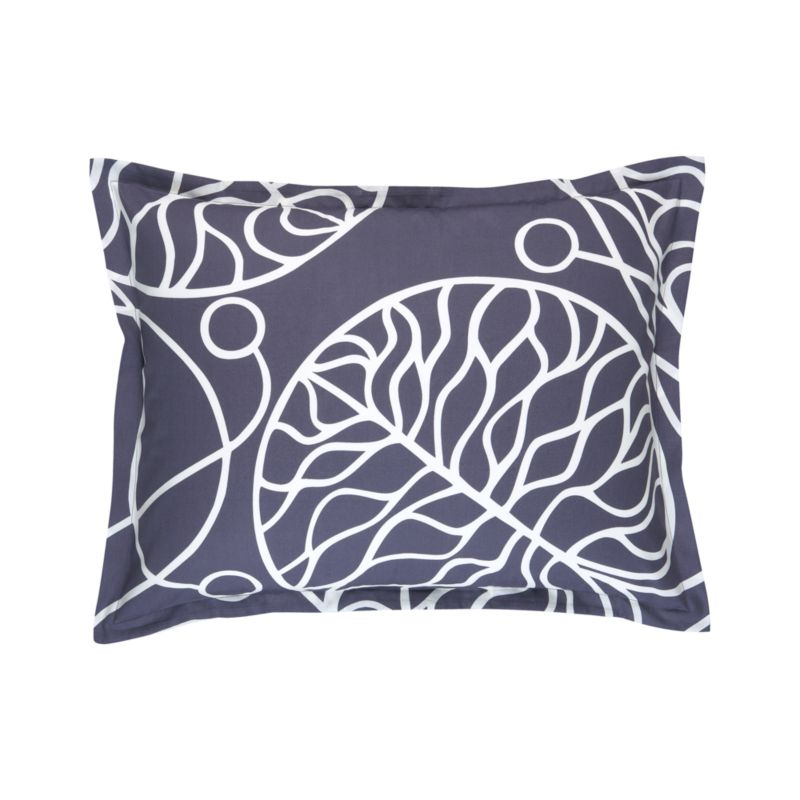 """A modern organic pattern, Bottna is fresh and calm. Designed by Anna Danielsson in 2003, winding decorative vines present a detailed study in calligraphy embellished water lily leaves, reflecting the spirit of Art Nouveau and the designer's concern about the environment. Pillow sham has a 1"""" flange and generous back flap closure. Bed pillows also available.<br /><br /><NEWTAG/><ul><li>Pattern designed by Anna Danielsson; 2003</li><li>100% cotton sateen</li><li>300-thread-count</li><li>Machine wash cold</li><li>Made in Pakistan</li></ul>"""