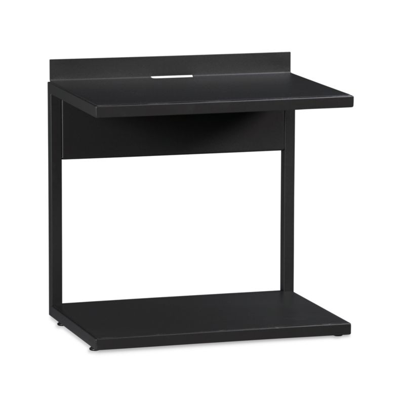 Bowery takes a linear, urban design and softens it for the bedroom. Defined by clean, C-shaped lines and a low-sheen black powdercoat finish, this sleek, industrial-inspired nightstand features a simple top shelf that allows full accessibility to the bed's storage drawers. The Bowery Nightstand is a Crate and Barrel exclusive.<br /><br /><NEWTAG/><ul><li>Sheet metal shelves with black powdercoat finish</li><li>Metal tube feet and legs</li><li>Cord management cutout</li><li>Made in Taiwan</li></ul>