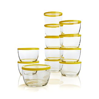 Set of 12 16-oz. Bowls with Yellow Lids